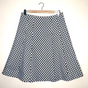 Gap Stretch Fit Flare Skirt Geometric Pattern Sz 8